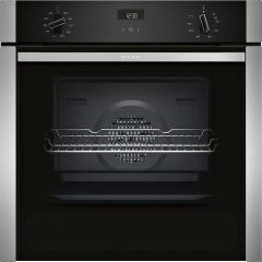 Neff B3ACE4HN0B Single electric oven, slide + hide door, stainless steel