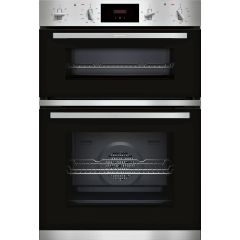 Neff U1GCC0AN0B, Electric Double Oven - Black + Steel
