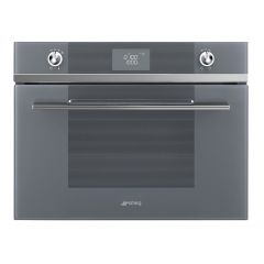 Smeg SF4102MCS Compact oven microwave combination, Silver Glass, Linea