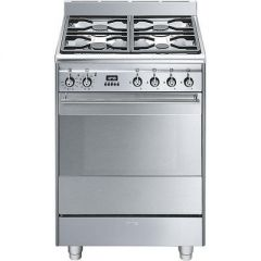 Smeg SUK61PX8  60cm Stainless steel, Dual Fuel Cooker, pyroclean