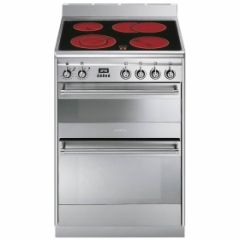 Smeg SUK62CMX8 , 60cm Stainless Steel Dual Cavity Ceramic Cooker