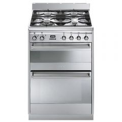 Smeg SUK62MX8,  60cm Stainless steel Dual Cavity Dual Fuel Cooker