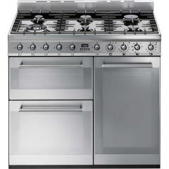 Smeg SY93 Freestanding 90cm dual Fuel Cooker, stainless steel