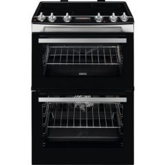 Zanussi ZCV66078XA  60cm Electric Double Oven with Ceramic Hob - Stainless Steel